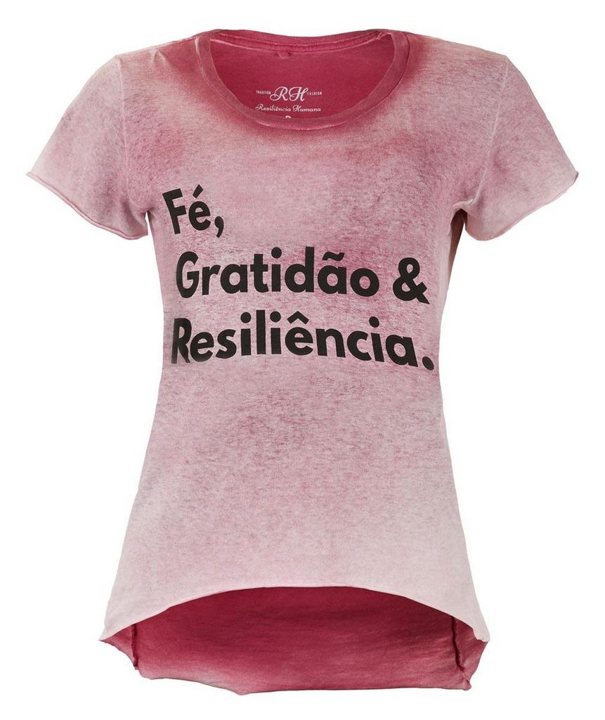 Camiseta Fé, Gratidão & Resiliência - Feminina - Vermelha
