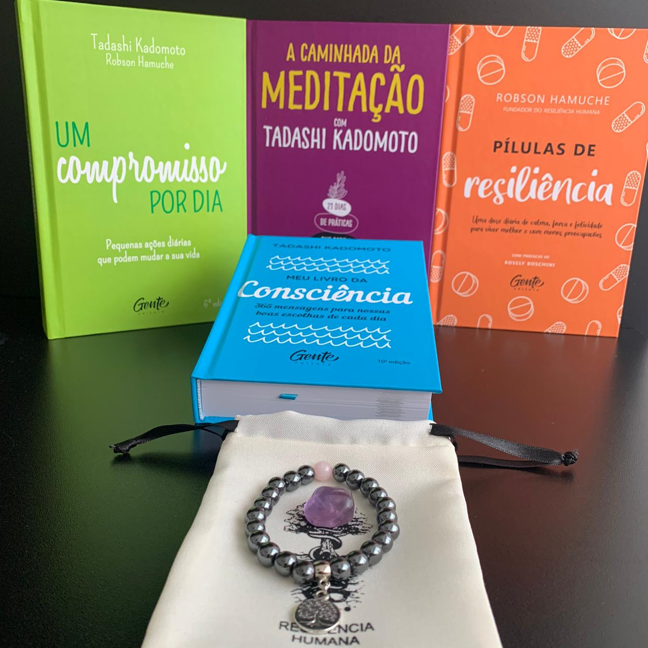 KIT 4  PROPÓSITO - CONTÉM:  4 Livros + 1 Pulseira de Hematita com Quartzo Rosa + Pedra Ametista