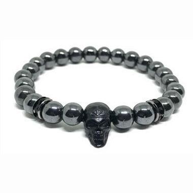 Pulseira Pedra Hematita 8mm Strass Black e Pingente Caveira Black