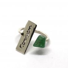Anel em Prata 950 Fé / Amor / Coragem com Cristal