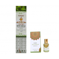 KIT SETE ERVAS - Óleo Perfumado Indiano (10ml) e Incenso