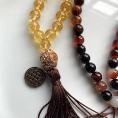 Japamala 108 contas em Citrino, Pedra do Sol e Agata do Fogo Originais com Meru e Medalha -  Abundância,  Prosperidade, Sucesso, Energias Positivas e Protetoras