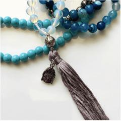Japamala 108 contas em Hematita, Quartzo Azul, Turquesa e Quartzo Cristal Originais com Detalhe Buda - Proteção, Cura Emocional, Boa Sorte e Sabedoria