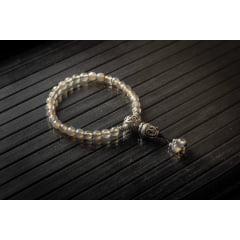 Japamala Pulseira Bracelete Budista 27 Contas Ágata Cinza
