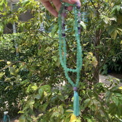 Japamala Unissex em Ametista, Quartzo Verde Originais - 108 Contas - Proteção, Cura, Intuição, Coragem e Amor Próprio