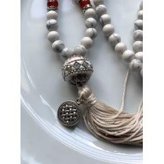 Japamala Unissex em Howlita e Pedras 7 Chakras Originais- 108 Contas - Paz Interior, Bom Sono, Alinhamento e Ativação dos Chakras.