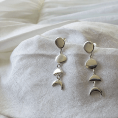 Brinco Fases da Lua | Prata 925