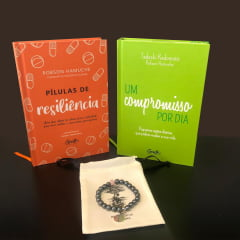 kit Compromisso - 1 Livro - Um Compromisso Por Dia + 1 Livro - Pílulas de Resiliência + 1 Pulseira - Hematita com Quartzo Rosa e Frete Grátis