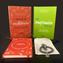 kit Pílulas de Resiliência - 2 Livros + 1 Moleskine + 1 Pulseira Hematita com Quartzo Rosa e Frete Grátis