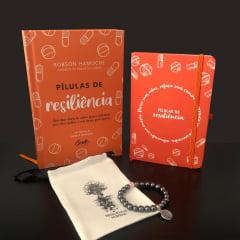 kit Pílulas de Resiliência - Livro + Moleskine + Pulseira Hematita com Quartzo Rosa Frete Grátis