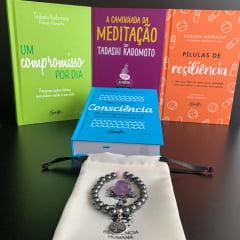 Kit A Caminhada do Autoconhecimento - 4 Livros + 1 Pulseira de Hematita com Quartzo Rosa + Pedra de Ametista Grátis