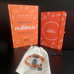kit Pílulas de Resiliência - Livro + Moleskine + Pulseira Ágata de Fogo e Frete Grátis